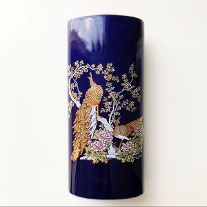 """Porcelain Blue Gold Peacock Vase Japan 6"""" Floral"""